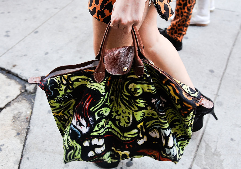 A Longchamp tote in a brilliant wash of print.