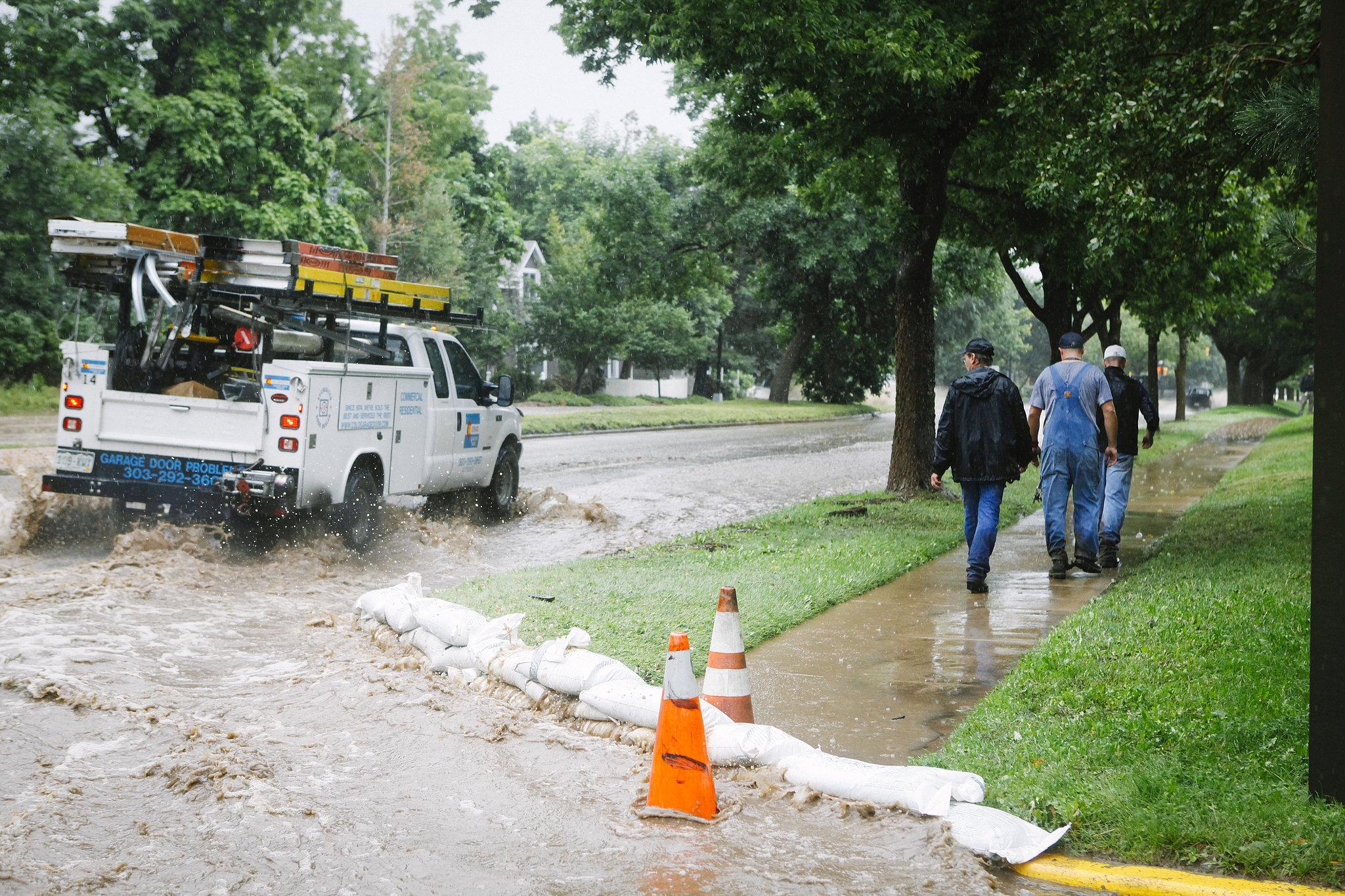 Sandbags were left along Canyon Boulevard to ease the flood in Boulder.