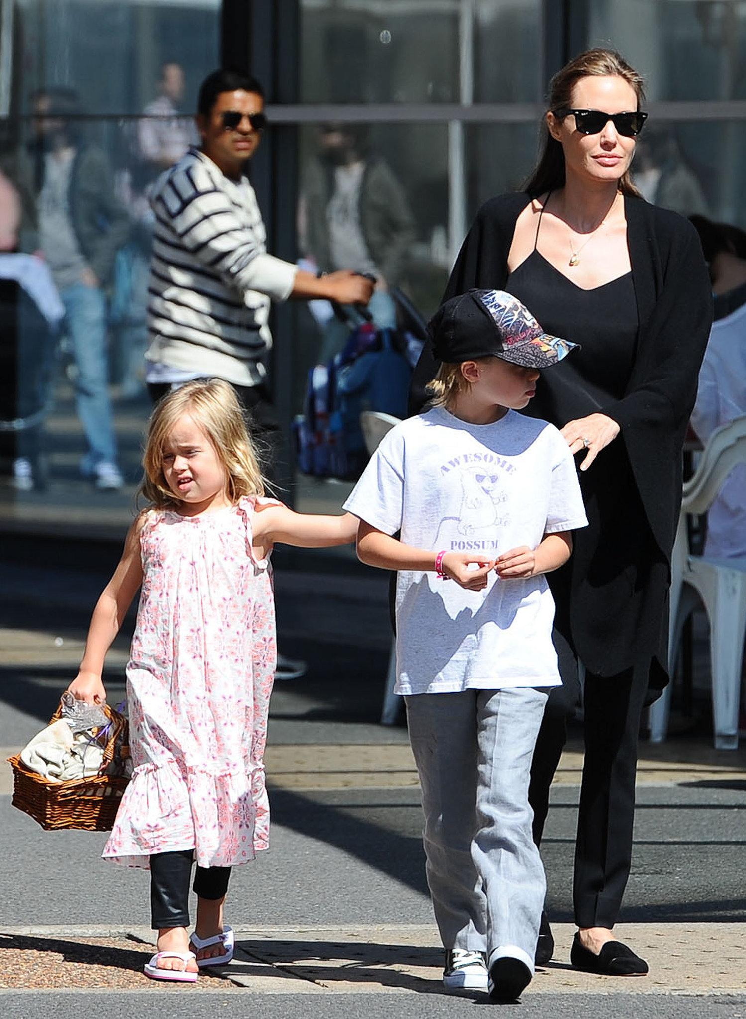 Angelina Jolie and the Kids Prep For Halloween