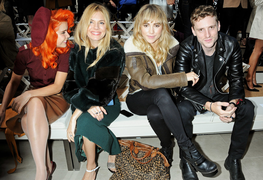 Sienna Miller and Suki Waterhouse linked up with Paloma Faith and George Barnett front row at Burberry Prorsum during London Fashion Week.