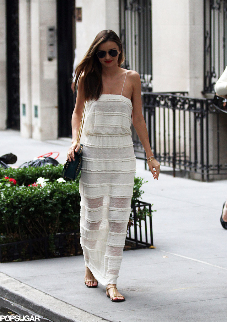 Miranda Kerr wore a sheer white maxi dress while out in NYC on Monday.