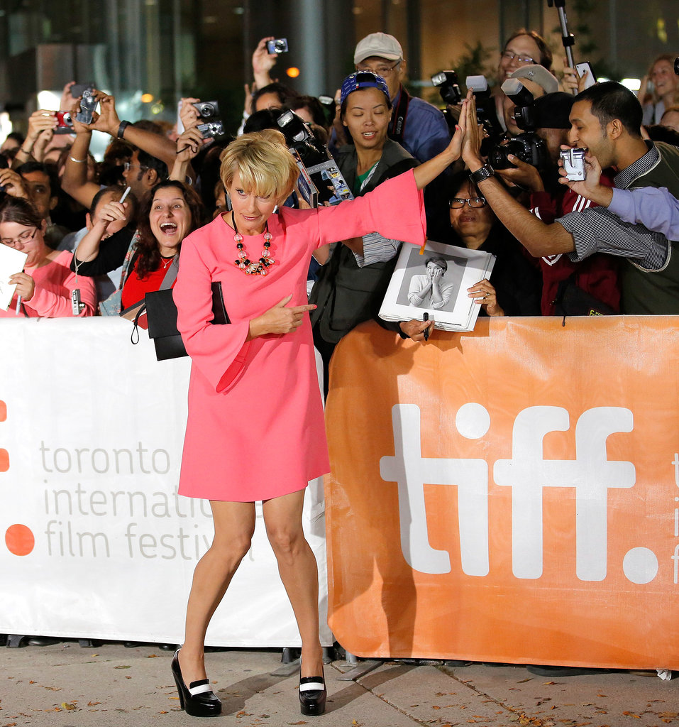 Emma Thompson got playful with fans at the premiere of The Love Punch.