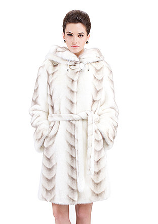 Sally/faux white mink fur with gray fish pattern/middle fur coat - New Products