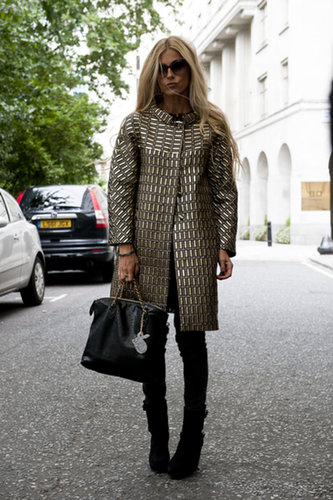 A metallic coat was the star of this look.