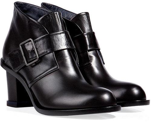 Jil Sander Buckle Ankle Boots in Black