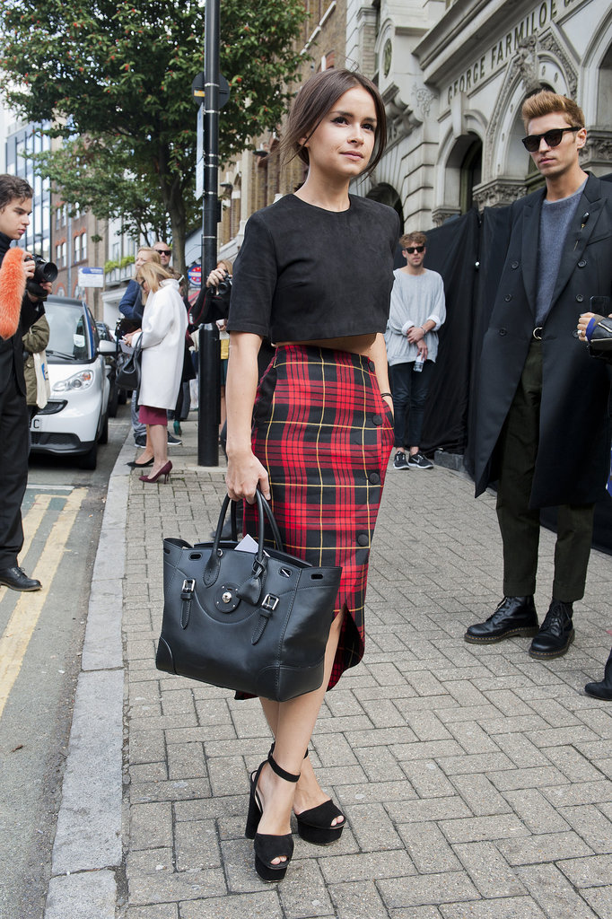 Miroslava Duma was right on trend in plaid pencil and a crop top.