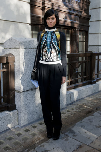 Leigh Lezark's punchy knit was the perfect complement to clean black pants.