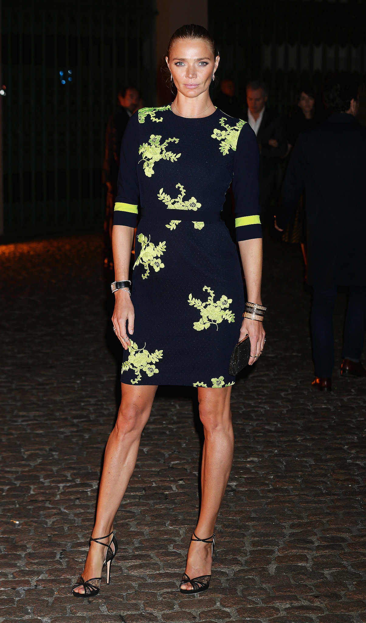 Jodie Kidd gave neon a sophisticated spin outside Lodon's Apsley House.