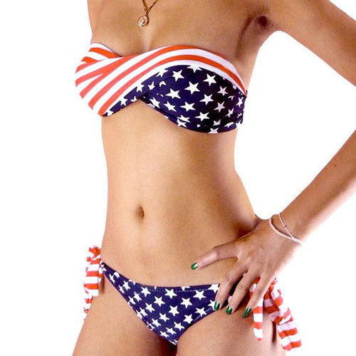 Top US Flag Padded Twisted Tie Side Bikini Swimsuit and Bottom with Hot Sexy Stars and Stripes Swimwear