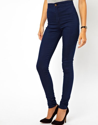 ASOS Uber High Waist Denim Tube Pants in Indigo