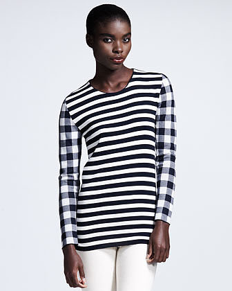 Stella McCartney Long-Sleeve Mixed-Print Tee