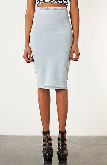 This Topshop denim-look tube skirt ($50) is the kind of denim that's easy to dress up.