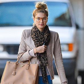 Jessica Hart Wearing Leopard Scarf