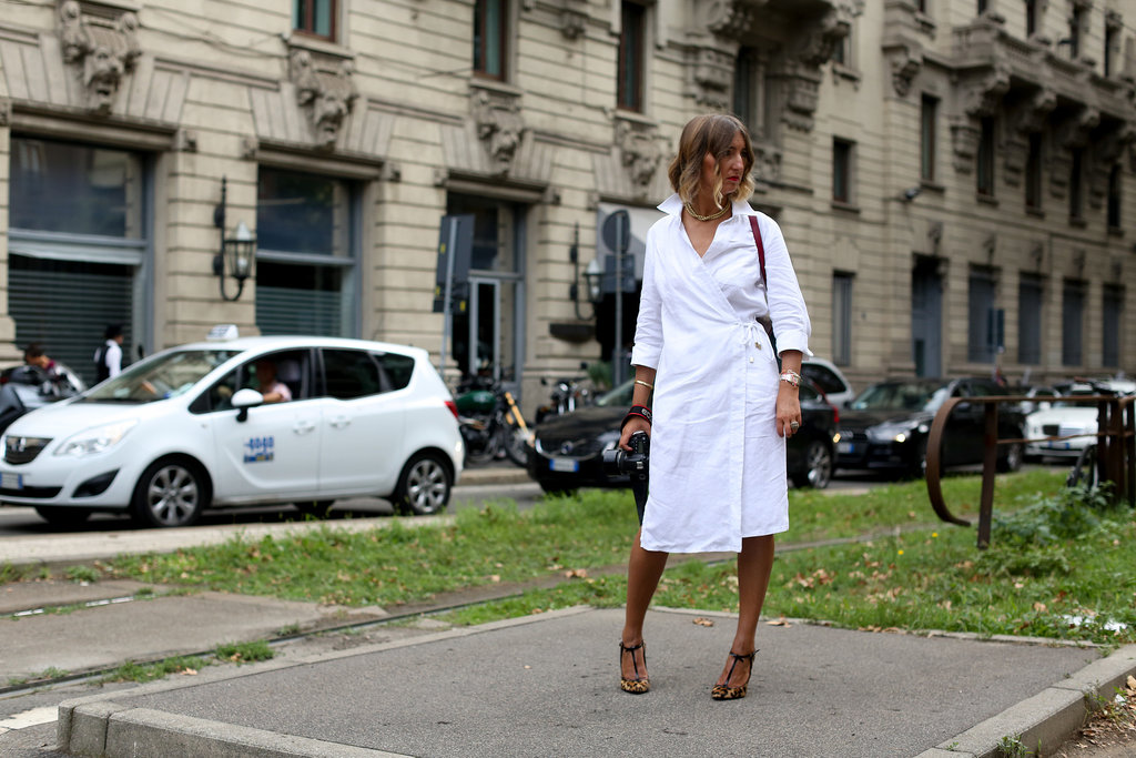 A simple white wrap dress benefited from some stand-out footwear.