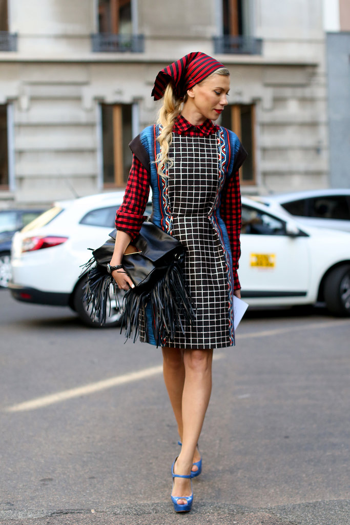 She stuck to a limited colour palette but didn't limit the statement-making prints or pieces happening in this look.