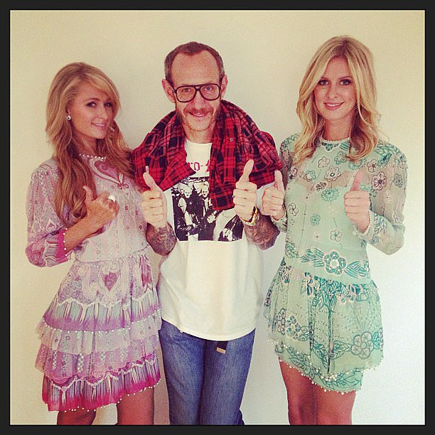 Paris and Nicky Hilton pulled a signature Terry Richardson pose after a shoot with the famed photographer.  Source: Instagram user nickyhilton
