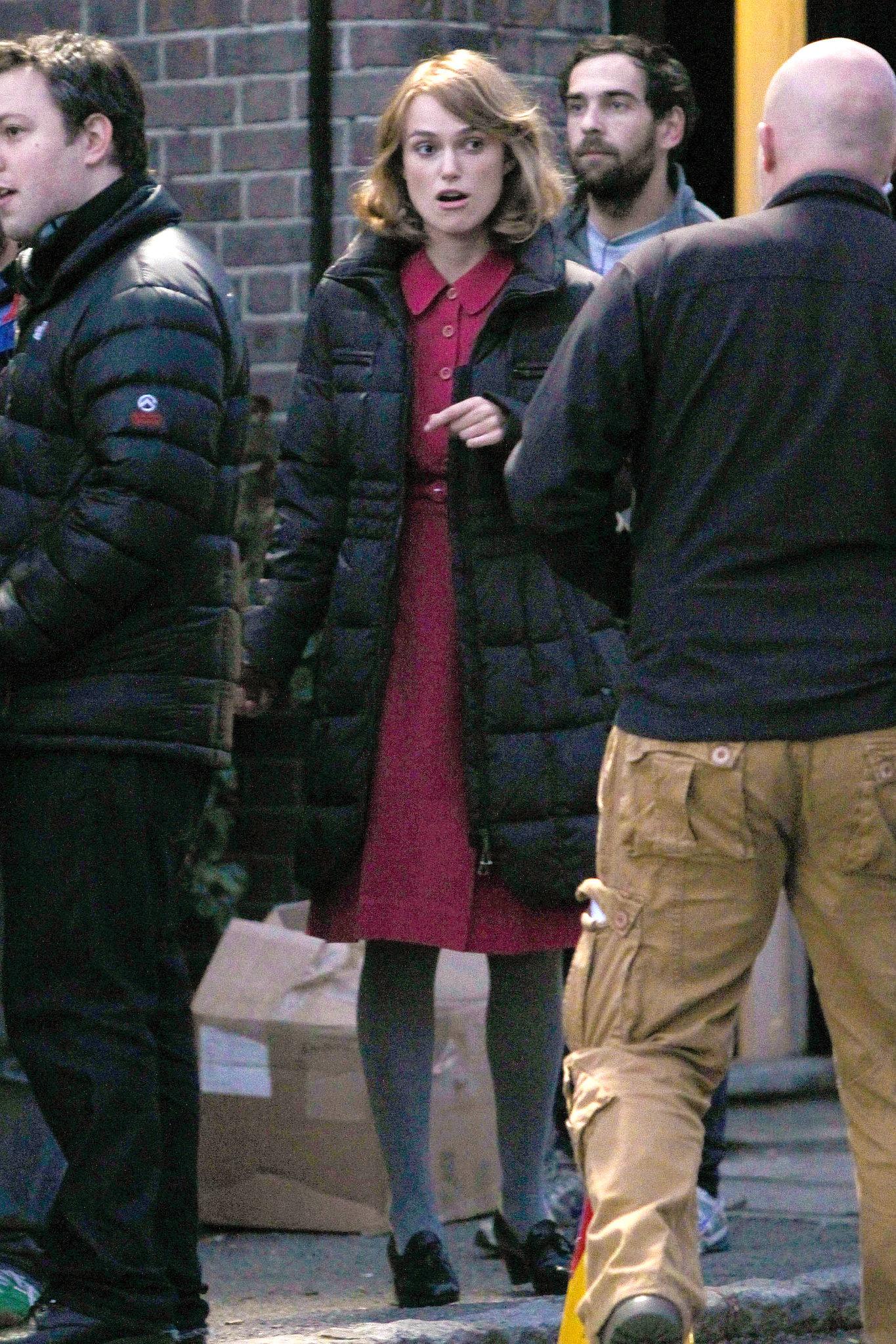 Keira Knightley hit the set in Hertfordshire.
