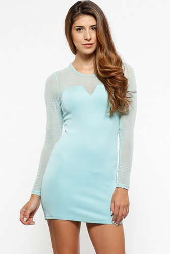 Metallic Polka Dot Aqua Scuba Dress @ Cicihot sexy dresses,sexy dress,prom dress,summer dress,spring dress,prom gowns,teens dres