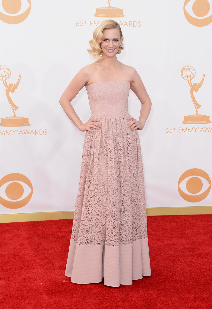 January Jones might have quipped that she made her rose-pink dress, but don't be fooled — it was Givenchy created just for her.