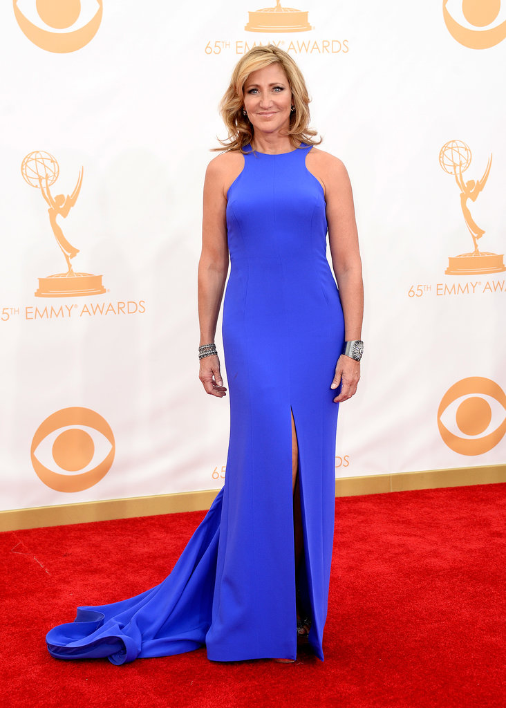 Electric blue wowed on Edie Falco's custom Escada dress.
