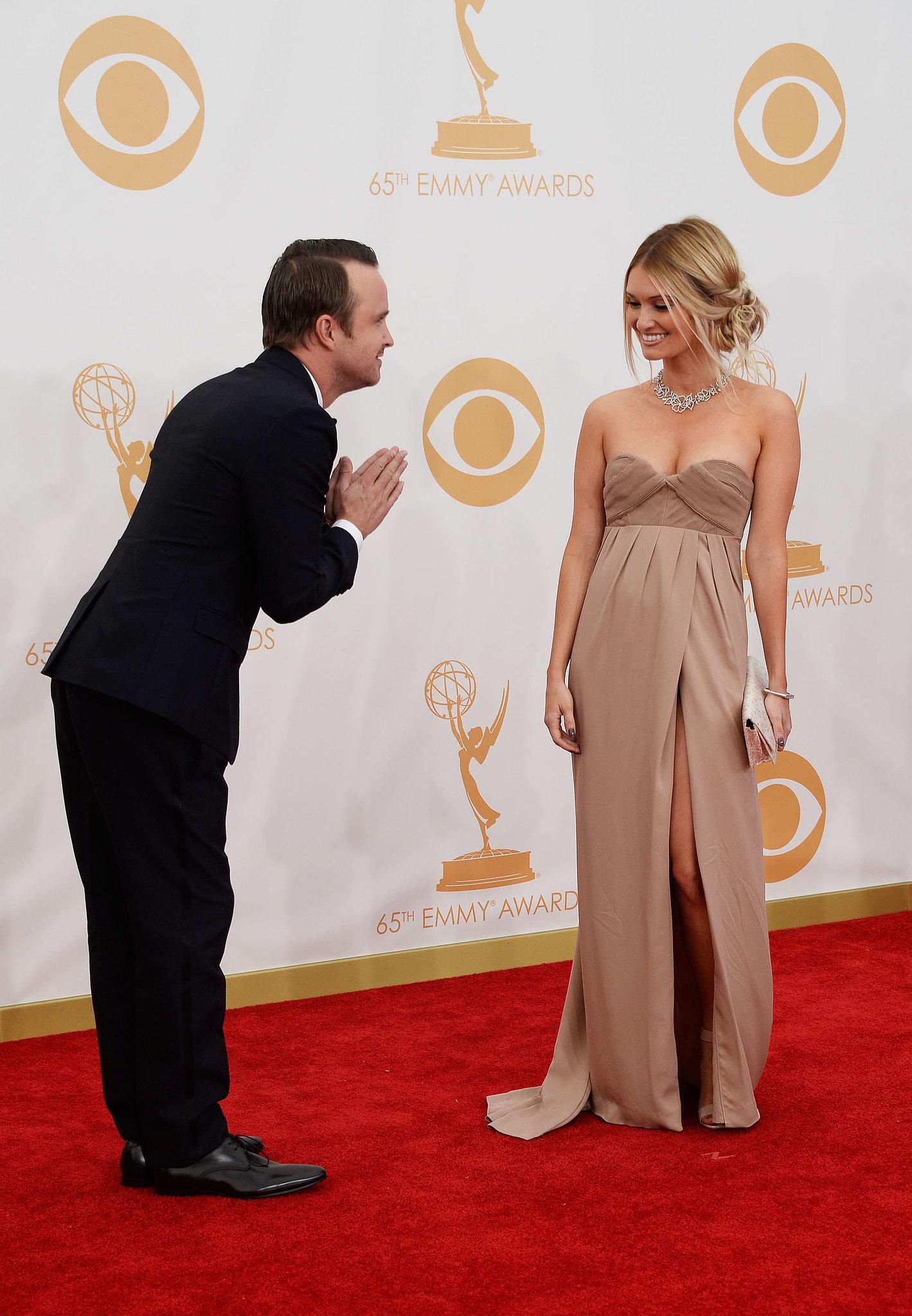 Aaron Paul gave his wife, Lauren Parsekian, a bow.