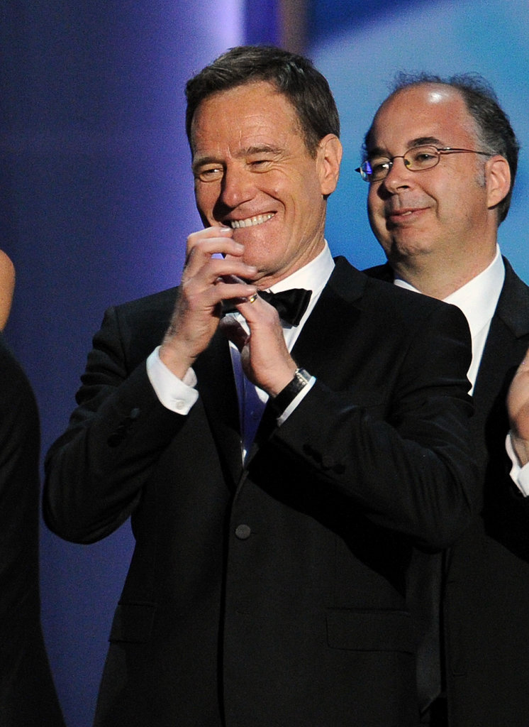 Bryan Cranston was delighted to celebrate Breaking Bad's first win for outstanding drama series.