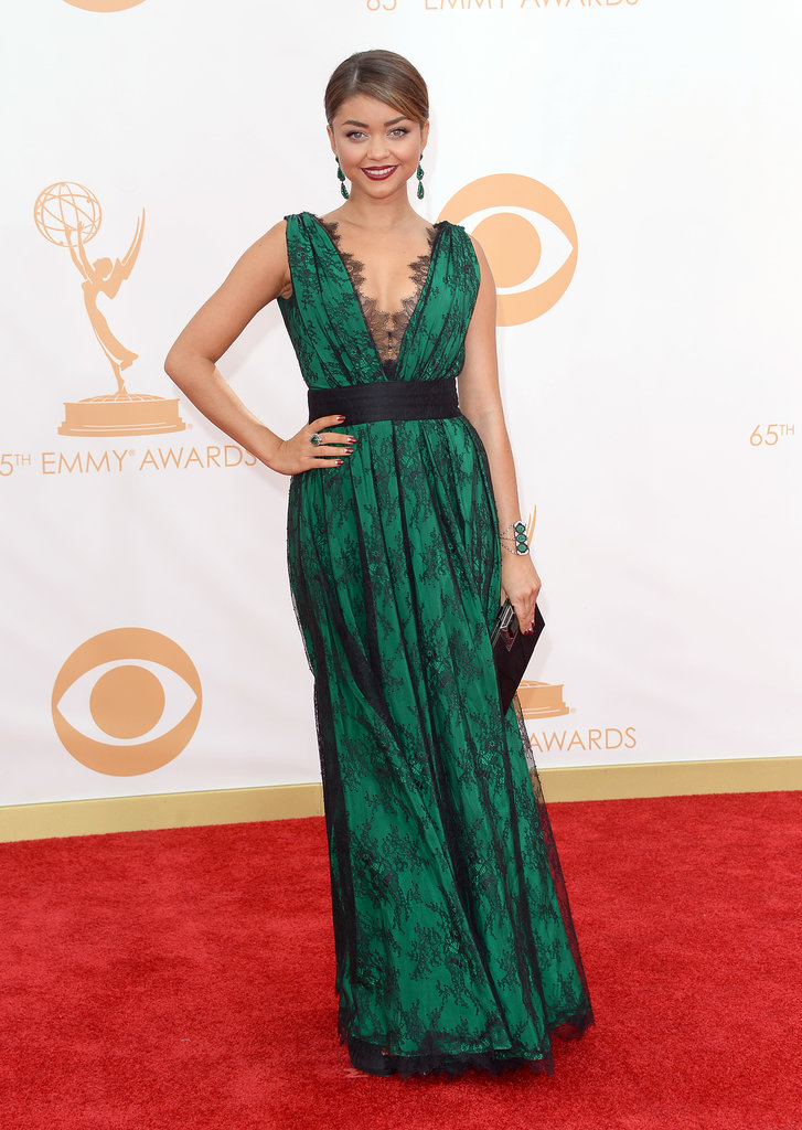 Sarah Hyland went green, picking a v-neck dress accented with black lace.