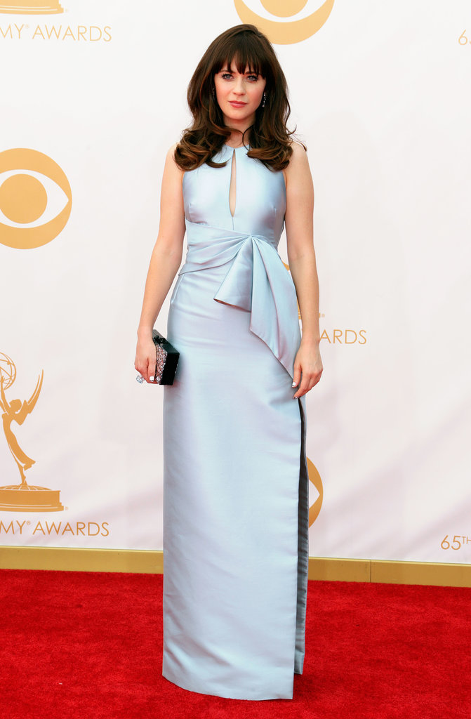 Zooey Deschanel said she picked the first gown she saw on the rack, and we approve! The actress wore her J. Mendel dress with Chanel fine jewellery and Charlotte Olympia shoes.