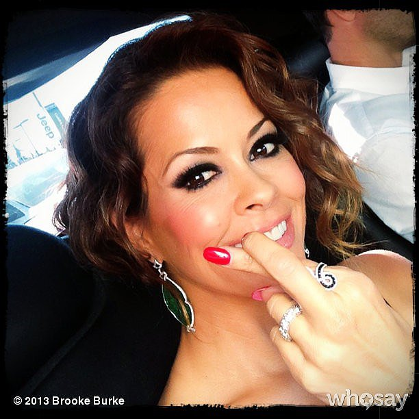 Brooke Burke-Charvet crossed her fingers for a DWTS win. Source: Brooke Burke on WhoSay