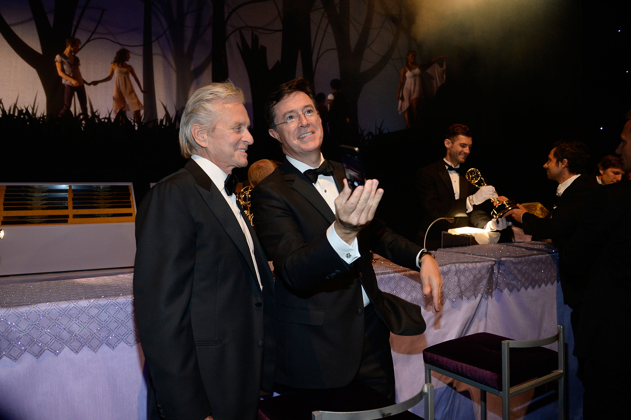 Stephen Colbert and Michael Douglas met up at the 2013 Emmys Governors Ball.