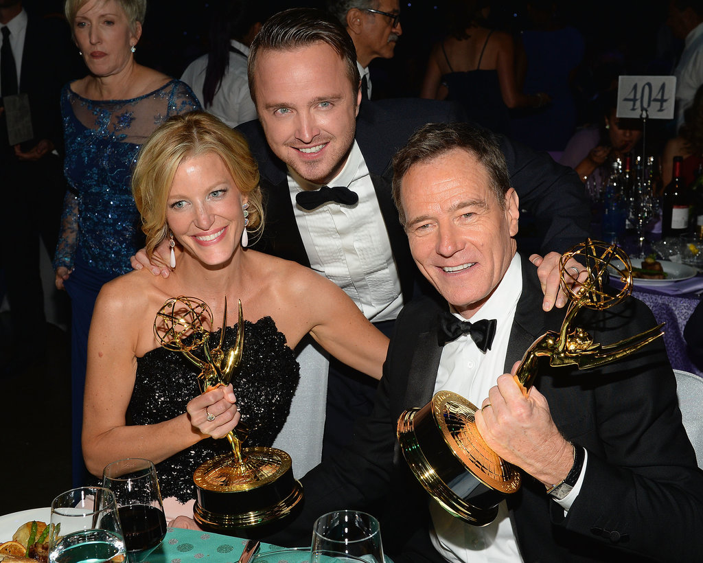 Anna Gunn, Aaron Paul and Bryan Cranston posed with their awards at the 2013 Emmys Governors Ball.