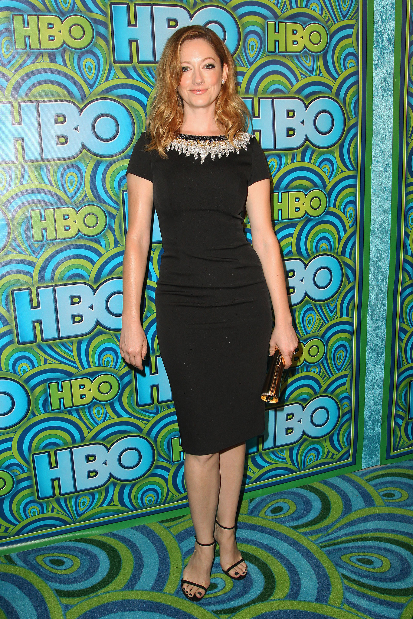 Judy Greer arrived at HBO's afterparty in an understated Pamella Roland sheath and not-so-understat