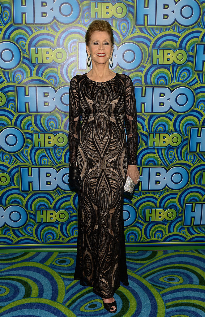 Jane Fonda opted for a curve-conscious ornately decorated gown and a single black glove to complete her look for HBO's party.