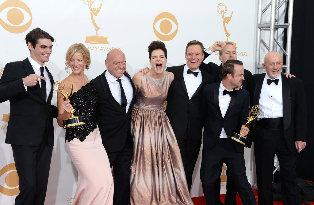 The Breaking Bad actors were excited about their Emmy win in 2013.