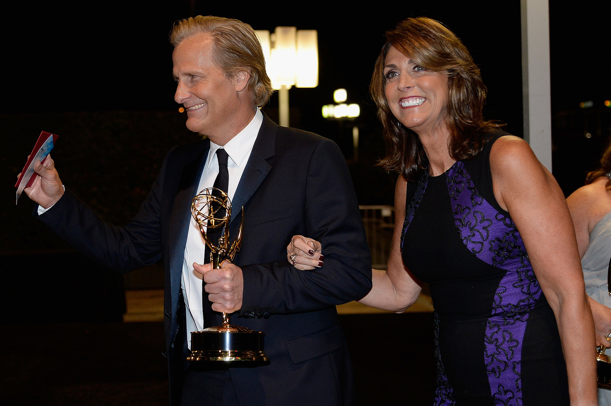 Jeff Daniels celebrated his win with wife, Kathleen Treado.