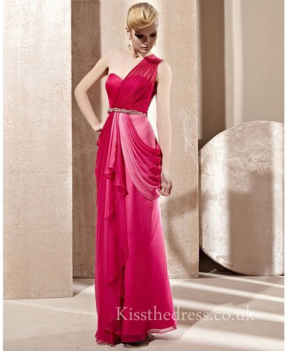 Draped Red Chiffon Sweetheart One Shoulder Long Prom Dress CYH81281
