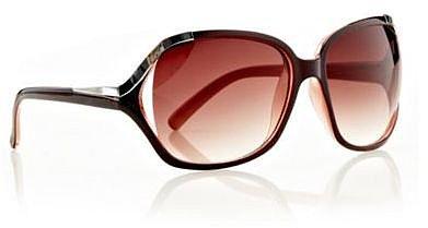 Oversize-Sonnenbrille mit Metallic-Ecken, braun