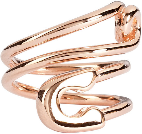 Tom Binns Rose Gold-Plated Twisted Safety Pin Ring