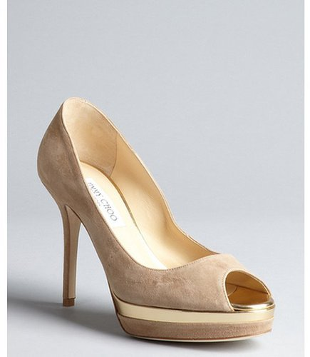 Jimmy Choo tan suede 'Meringue' platform peep toe pumps