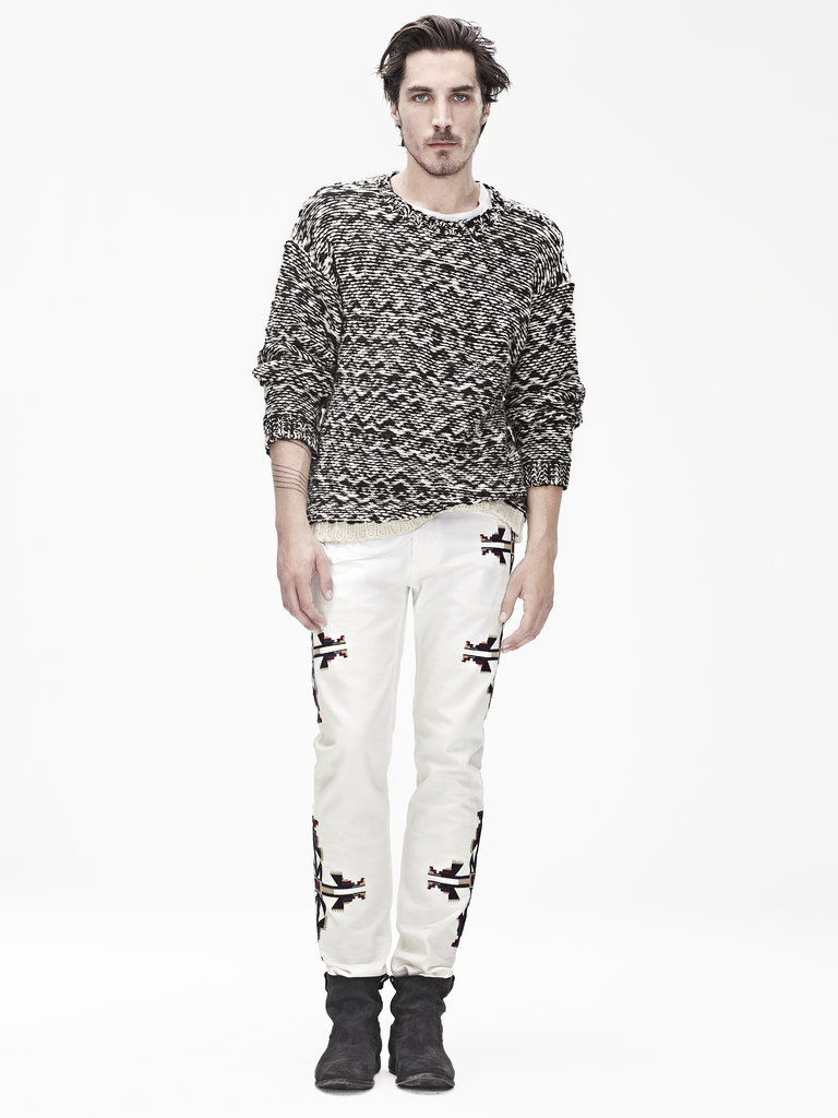Isabel Marant for H&M Wool sweater ($99), long-sleeved t-shirt ($35), trousers ($99), suede boots ($199) Photo courtesy of H&M