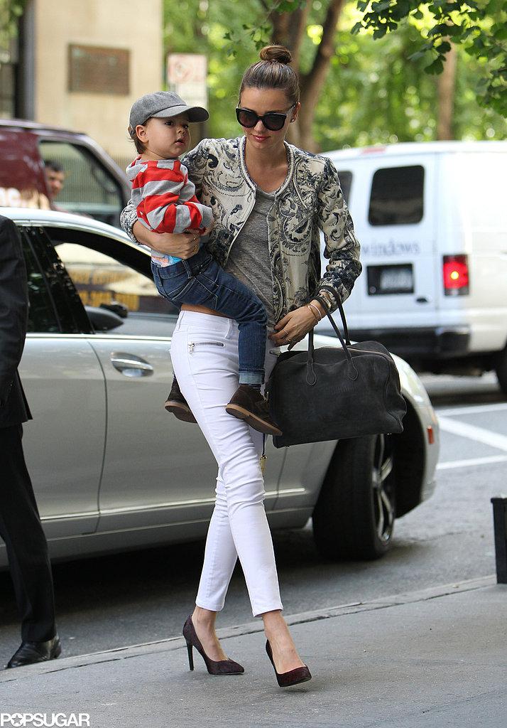Miranda Kerr and Flynn Bloom left their building in NYC.