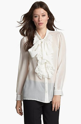 Classiques Entier® Ruffled Silk Georgette Blouse