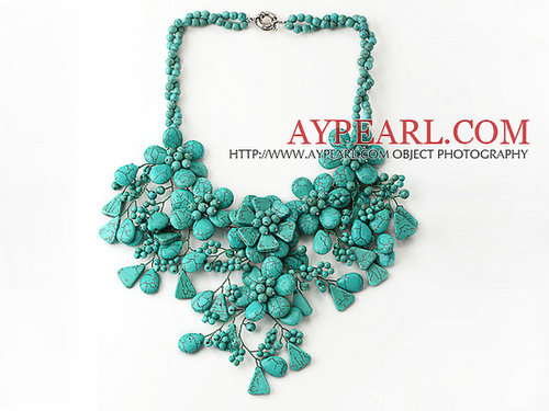Amazing Assorted Multi Shape Turquoise Flower Party Necklace