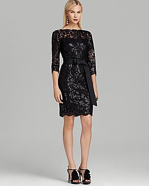 Tadashi Petites Belted Sequin Illusion Neck Dress - Three Quarter Sleeves