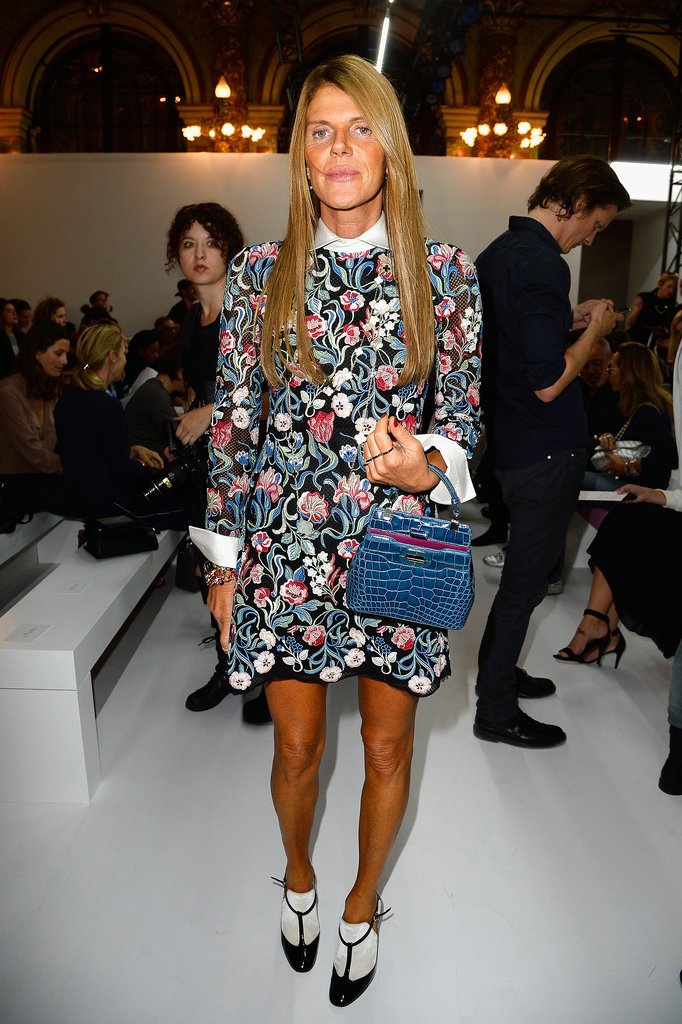Anna Dello Russo showed her flower power in Balmain's front row.