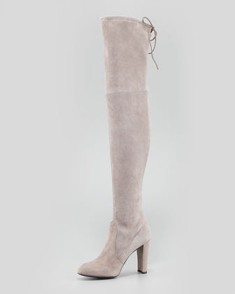 Stuart Weitzman Highland Stretchy Suede Over-the-Knee Boot, Topo