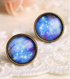 Image of Shiny Blue Sky Abstract Earrings