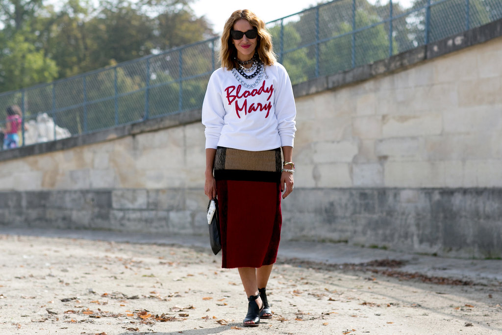 A statement sweatshirt and a cool pencil skirt are a match made in fashion heaven.