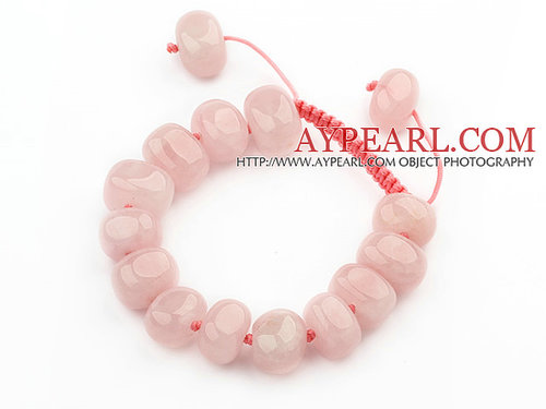 Assorted Fillet Irregular Shape Rose Quartz Knotted Adjustable Drawstring Bracelet
