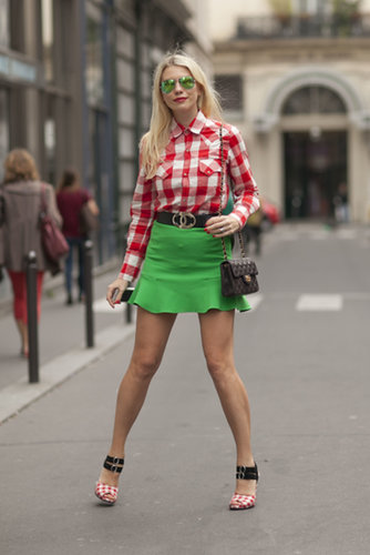 A street-styled take on Christmas hues was fresh, not cheesy.